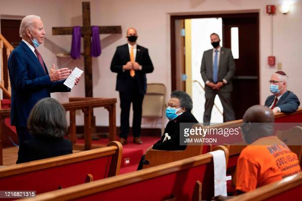 Former vice president and Democratic presidential candidate Joe Biden meets with clergy members and community activists during a visit to Bethel AME...