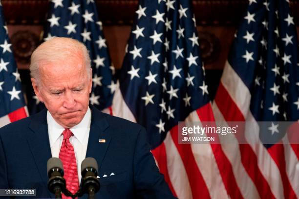 Former vice president and Democratic presidential candidate Joe Biden speaks about the unrest across the country from Philadelphia City Hall on June...