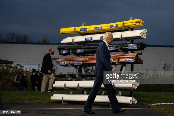 Former Vice President and presidential nominee Joe Biden exits after giving remarks at UA Plumbers Local 27 Erie Training Center in Erie, PA on...