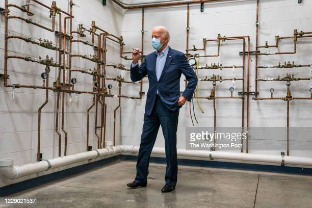 Former Vice President and presidential nominee Joe Biden tours the UA Plumbers Local 27 Erie Training Center in Erie, PA on October 10, 2020.