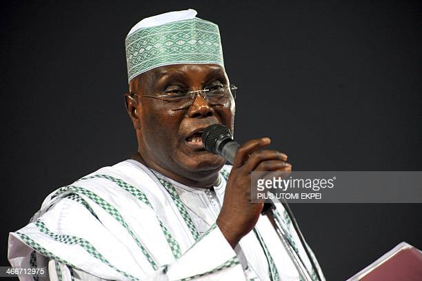Former Vice President Atiku Abubakar campaigns for votes during the presidential primaries of the ruling Peoples Democratic Party in Abuja early...