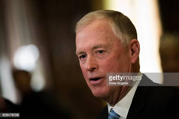 Former Vice President Dan Quayle speaks briefly to reporters at Trump Tower November 29 2016 in New York City Presidentelect Donald Trump and his...