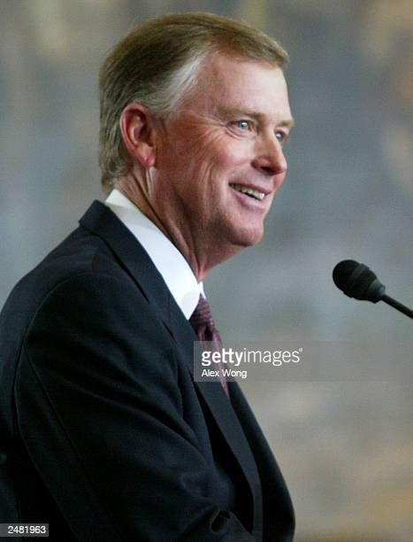 Former vice president Dan Quayle speaks September 10 2003 during an unveiling ceremony of his marble bust on Capitol Hill in Washington DC Dan Quayle...