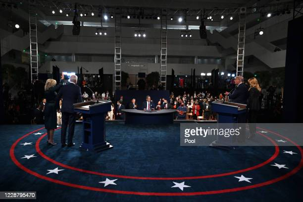 Former Vice President Democratic presidential nominee Joe Biden and his wife Dr. Jill Biden stand on stage with U.S. President Donald Trump and first...