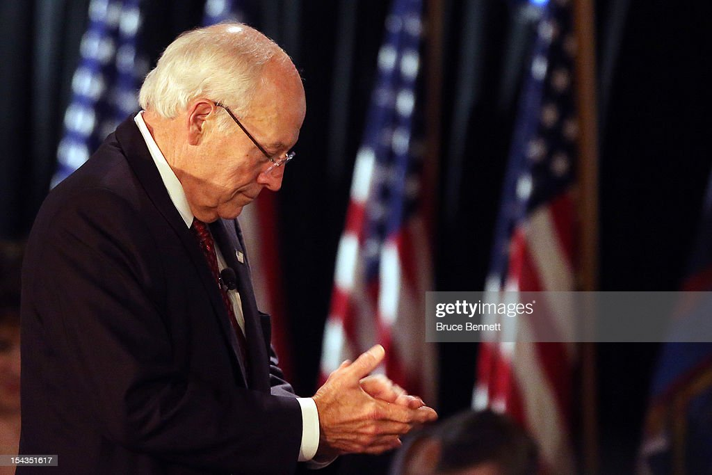 Former Vice President Dick Cheney leaves the podium after speaking at the Long Island Association fall luncheon at the Crest Hollow Country Club on October 18, 2012 in Woodbury, New York. Cheney discussed foreign and domestic issues, including the upcoming presidential election, at the business organization's luncheon.