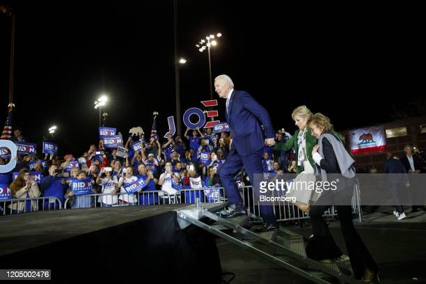 Former Vice President Joe Biden 2020 Democratic presidential candidate arrives with his wife Jill Biden left and sister Valerie Biden right arrive to...