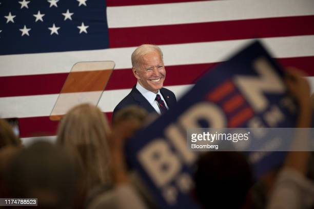 Former Vice President Joe Biden 2020 Democratic presidential candidate smiles during a town hall event in Manchester New Hampshire US on Wednesday...