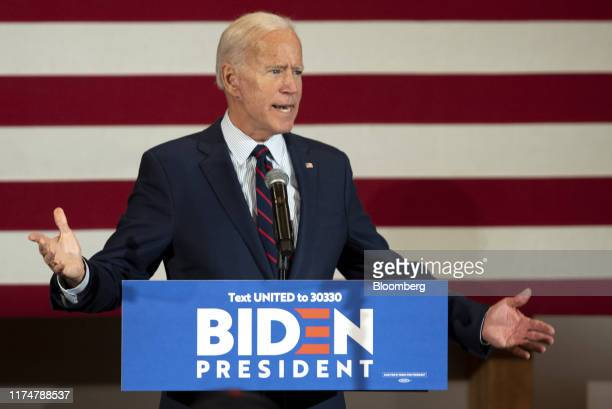 Former Vice President Joe Biden 2020 Democratic presidential candidate speaks during a town hall event in Manchester New Hampshire US on Wednesday...
