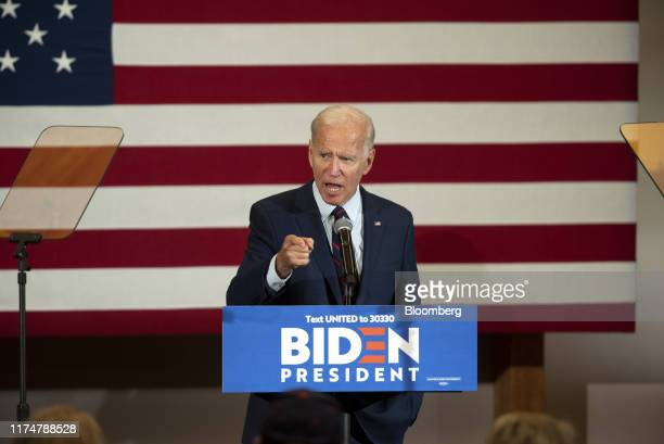 Former Vice President Joe Biden 2020 Democratic presidential candidate gestures while speaking during a town hall event in Manchester New Hampshire...