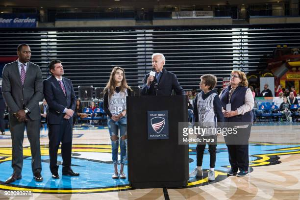 Former Vice President Joe Biden addresses the crowd at halftime during the Erie BayHawks v the Delaware 87ers NBA GLeague game on January 20 2018 at...