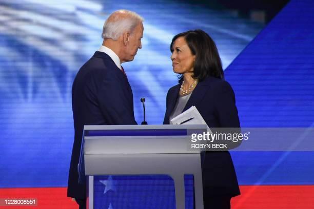 Former Vice President Joe Biden and Senator Kamala Harris speak on September 12 in Houston, Texas, after the third Democratic primary debate of the...