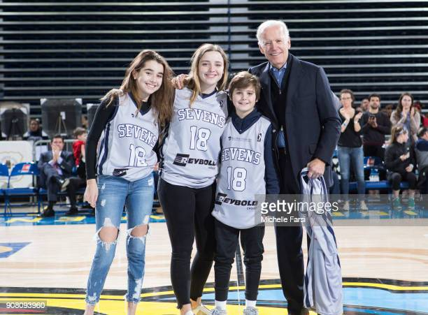 Former Vice President Joe Biden attends the Erie BayHawks v the Delaware 87ers NBA GLeague game on January 20 2018 at the Bob Carpenter Center...