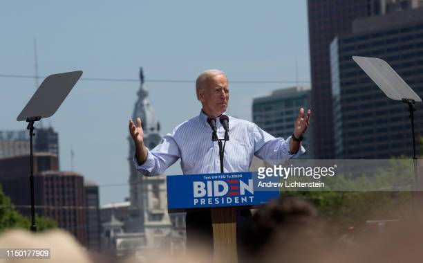 Former Vice President Joe Biden campaigns for president at a kickoff rally on March 18 2019 in downtown Philadelphia Pennsylvania