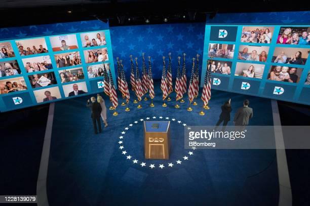 Former Vice President Joe Biden, Democratic presidential nominee, and wife Jill Biden, left, and Senator Kamala Harris, Democratic vice presidential...