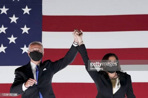 Former Vice President Joe Biden, Democratic presidential nominee, left, and Senator Kamala Harris, Democratic vice presidential nominee, wear...