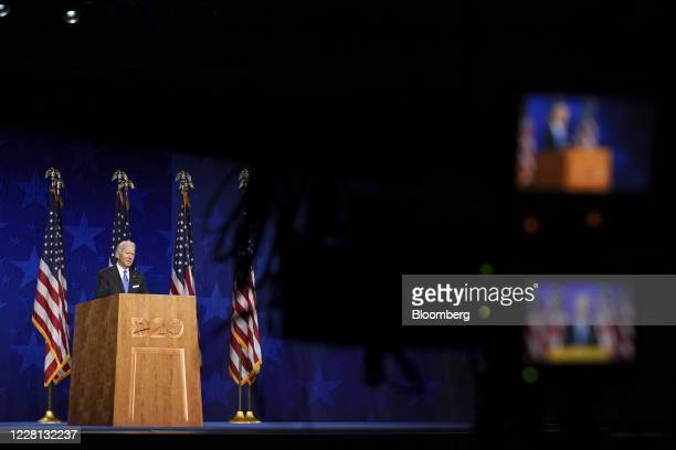 Former Vice President Joe Biden, Democratic presidential nominee, left, speaks during the Democratic National Convention at the Chase Center in...