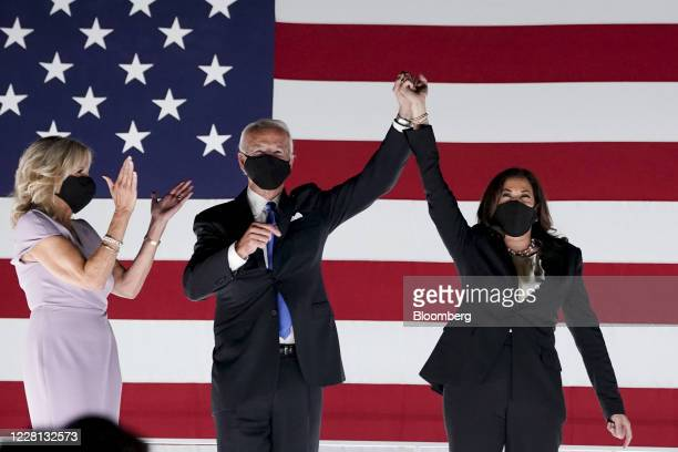 Former Vice President Joe Biden, Democratic presidential nominee, second left, and Senator Kamala Harris, Democratic vice presidential nominee, wear...
