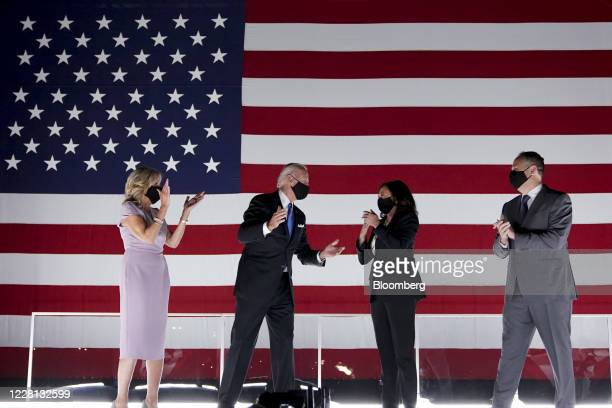 Former Vice President Joe Biden, Democratic presidential nominee, second left, wife Jill Biden, left, Senator Kamala Harris, Democratic vice...