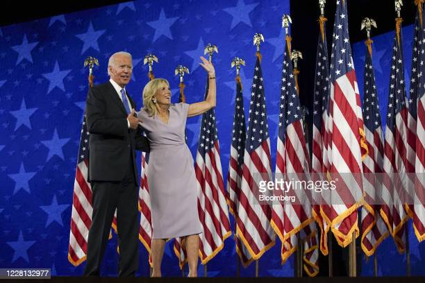Former Vice President Joe Biden, Democratic presidential nominee, left, and wife Jill Biden stand on stage during the Democratic National Convention...