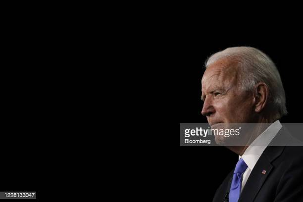 Former Vice President Joe Biden, Democratic presidential nominee, pauses while speaking during the Democratic National Convention at the Chase Center...