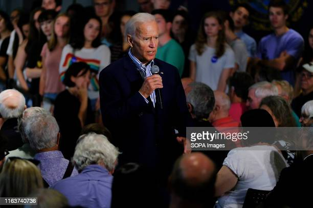 Former Vice President Joe Biden discusses healthcare during a campaign stop at Dartmouth University in Hanover, New Hampshire.