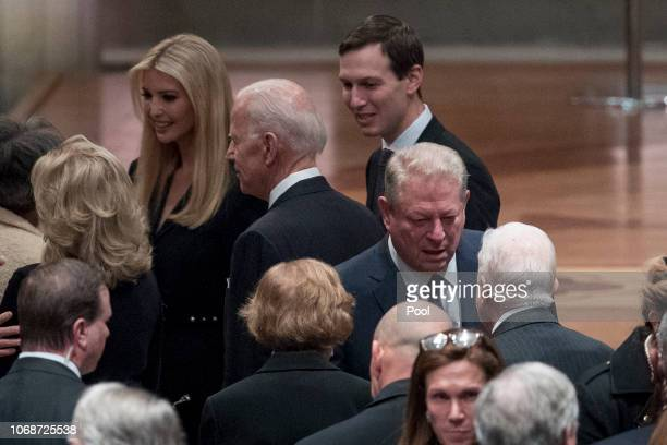 Former Vice President Joe Biden fourth from left and his wife Jill Biden second from left speak with Ivanka Trump the daughter of President Donald...