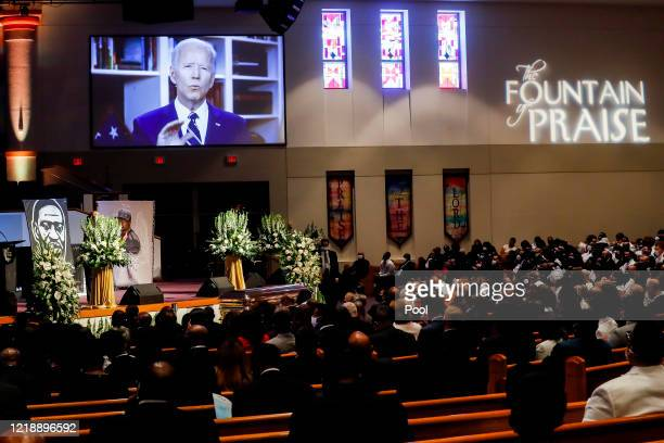 Former Vice President Joe Biden gives a videotaped message during the private funeral for George Floyd at The Fountain of Praise Church on June 9...