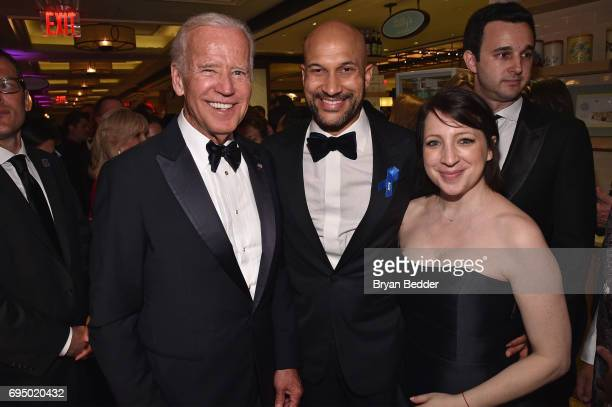 Former Vice President Joe Biden KeeganMichael Key and Elisa Pugliese attends the 2017 Tony Awards Gala at The Plaza Hotel on June 11 2017 in New York...