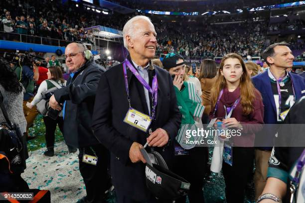 Former Vice President Joe Biden looks on during the celebrations after the Philadelphia Eagles win over the New England Patriots in Super Bowl LII at...