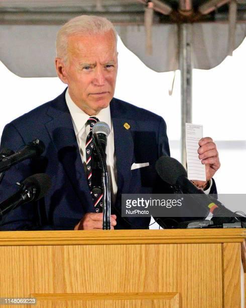 Former Vice President Joe Biden speaks at the annual Delaware Memorial Day ceremony in New Castle DE on May 30 2019