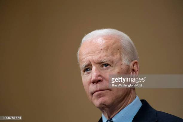 Former Vice President Joe Biden speaks at the Driving Park Community Center in Columbus, OH on March 10, 2020.