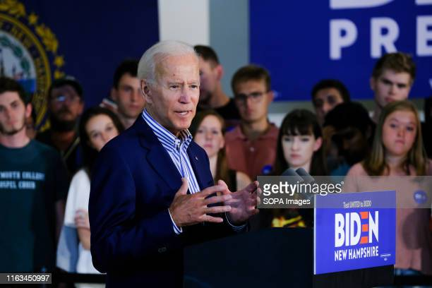 Former Vice President Joe Biden speaks during a campaign stop at Dartmouth University in Hanover, New Hampshire.