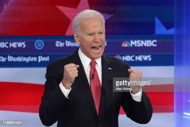 Former Vice President Joe Biden speaks during the Democratic Presidential Debate at Tyler Perry Studios November 20 2019 in Atlanta Georgia Ten...