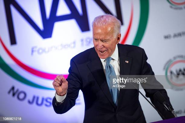 Former Vice President Joe Biden speaks during the National Action Network Breakfast on January 21 2019 in Washington DC Martin Luther King III was...