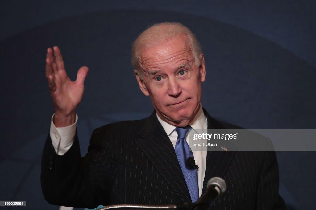 Former VP Joe Biden Addresses Chicago Council On Global Affairs : News Photo