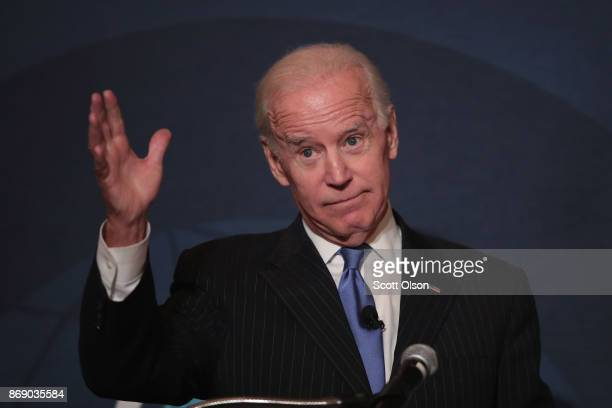 Former vice president Joe Biden speaks to the Chicago Council on Global Affairs on November 1, 2017 in Chicago, Illinois. Biden addressed the...