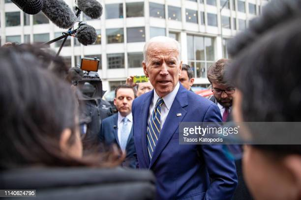 Former Vice President Joe Biden speaks to the media at the International Brotherhood of Electrical Workers Construction and Maintenance conference on...