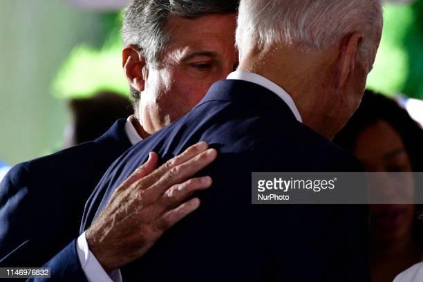 Former Vice President Joe Biden with Dr Jill Biden and granddaughter Natalie Biden attend the Delaware Memorial Day Ceremony in New Castle DE on May...