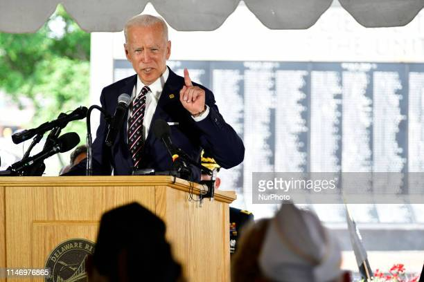 Former Vice President Joe Biden with Dr Jill Biden and granddaughter Natalie Biden attend the Delaware Memorial Day Ceremony in New Castle DE on May...