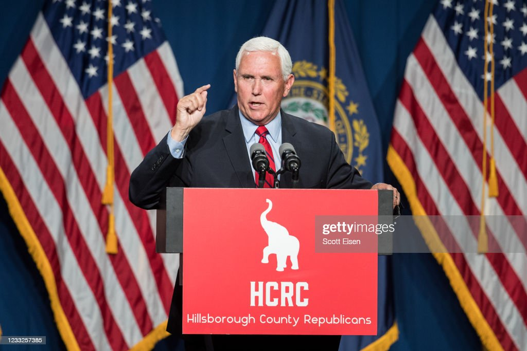 Mike Pence Addresses GOP Lincoln-Reagan Dinner In New Hampshire : News Photo