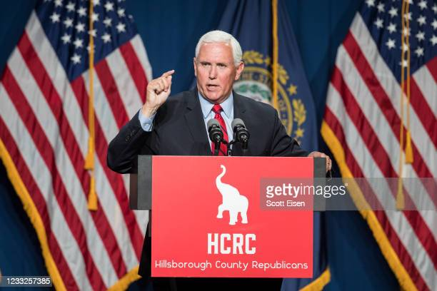 Former Vice President Mike Pence addresses the GOP Lincoln-Reagan Dinner on June 3, 2021 in Manchester, New Hampshire. Pence's visit to New Hampshire...