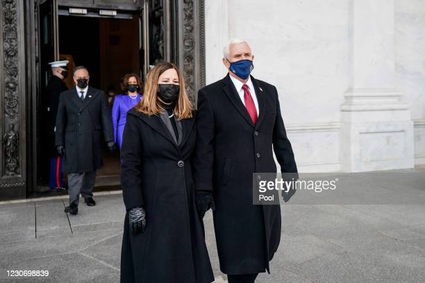 Former Vice President Mike Pence and his wife, Karen Pence, after the inauguration of President Joe Biden on January 20, 2021 in Washington, DC....