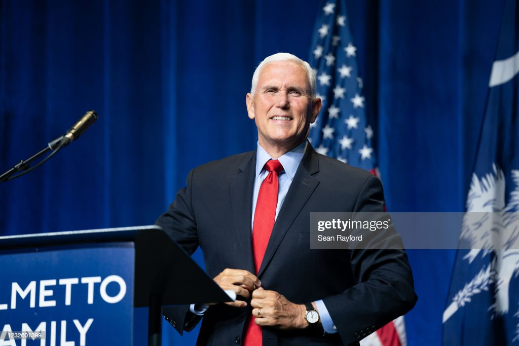 Mike Pence Delivers His First Address Since The End Of His Vice Presidency : News Photo