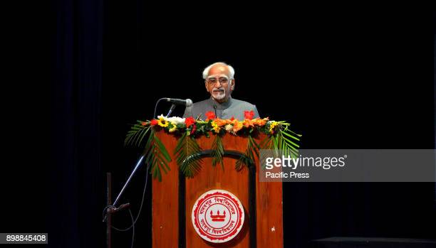 Former Vice President of India Mohammad Hamid Ansari address during a seminar 'Face to Face Is Secularism Dead in India' at Gandhi Bhawan of Jadavpur...
