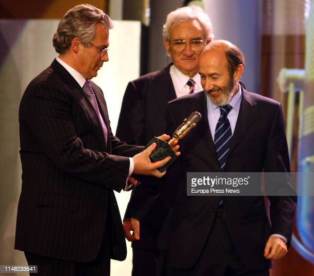 Former Vice President of the Government Internal Affairs minister and secretary general of PSOE Alfredo Perez Rubalcaba is seen during the ceremony...