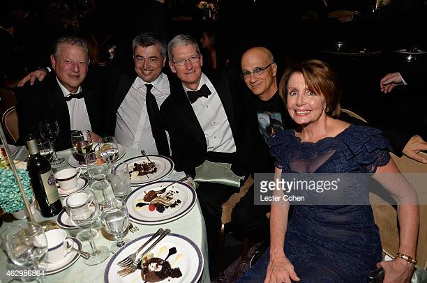 Former Vice President of the United States Al Gore Apple's SVP of Internet Software and Services Eddy Cue CEO of Apple Tim Cook music producer Jimmy...