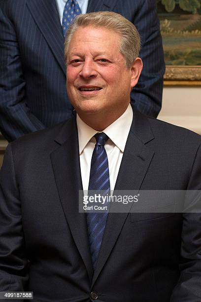 Former Vice President of the United States Al Gore poses for a photograph ahead of a dinner hosted by the British Ambassador to France Sir Peter...