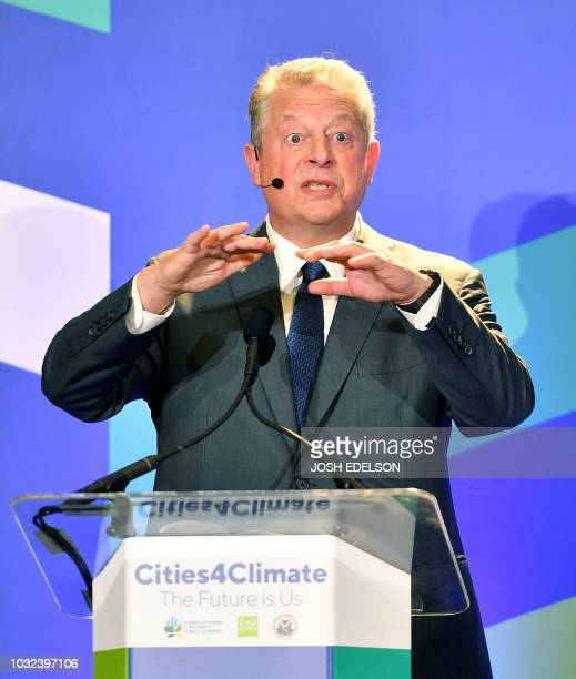 Former Vice President of The United States Al Gore speaks during closing remarks at the C40 Cities For Climate The Future Is Us kickoff event at San...