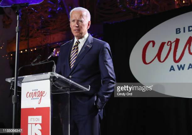 Former Vice President of the United States Joe Biden speaks onstage during The 2019 Biden Courage Awards at Russian Tea Room on March 26 2019 in New...