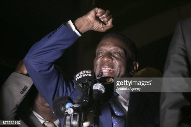 Former Vice President of Zimbabwe Emmerson Mnangagwa who was dismissed by former President Robert Mugabe addresses to the crowd in front of Zimbabwe...